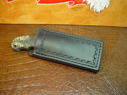 Pocket Sheath for a Fixed Blade Knife Sheath Size 5 and Three-quarter Inches Overall 2 1/2 Inches Wide the Opening in the Sheath 1 5/8. Sheath Made Out of 10 Ounce Water Buffalo Hide Leather Died Black.