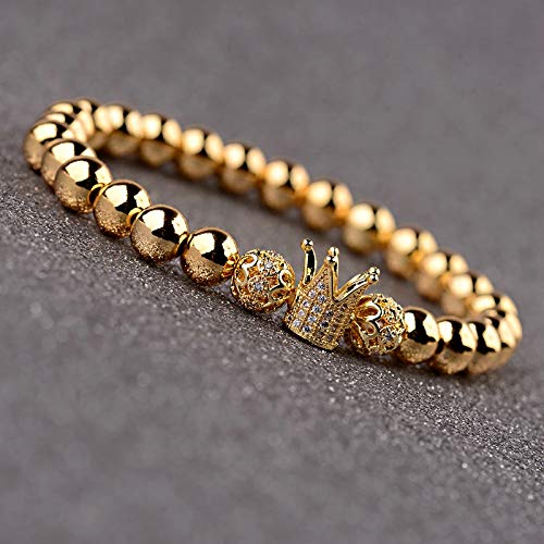 ALISETHEL Copper Bracelet for Men Oiquei 2pcs/Set Couple Bracelets for Women Men 2019 Gold 8mm Copper Bead&cz Crown Beaded Charm Bnagles Bracelet Luxury Jewelry by ALISETHEL (Image #3)
