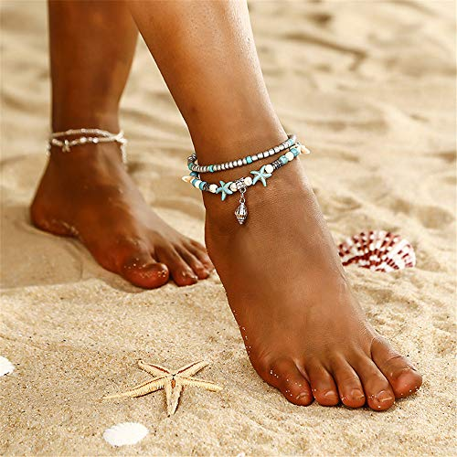 Novel-NV Handmade Round Beads Bohemian Foot Tassel Beach Creative Fashion Double Layer Anklet Conch Pendant Starfish Rice Beads Yoga Beach Foot Ornaments Adjustable Anklets for Women