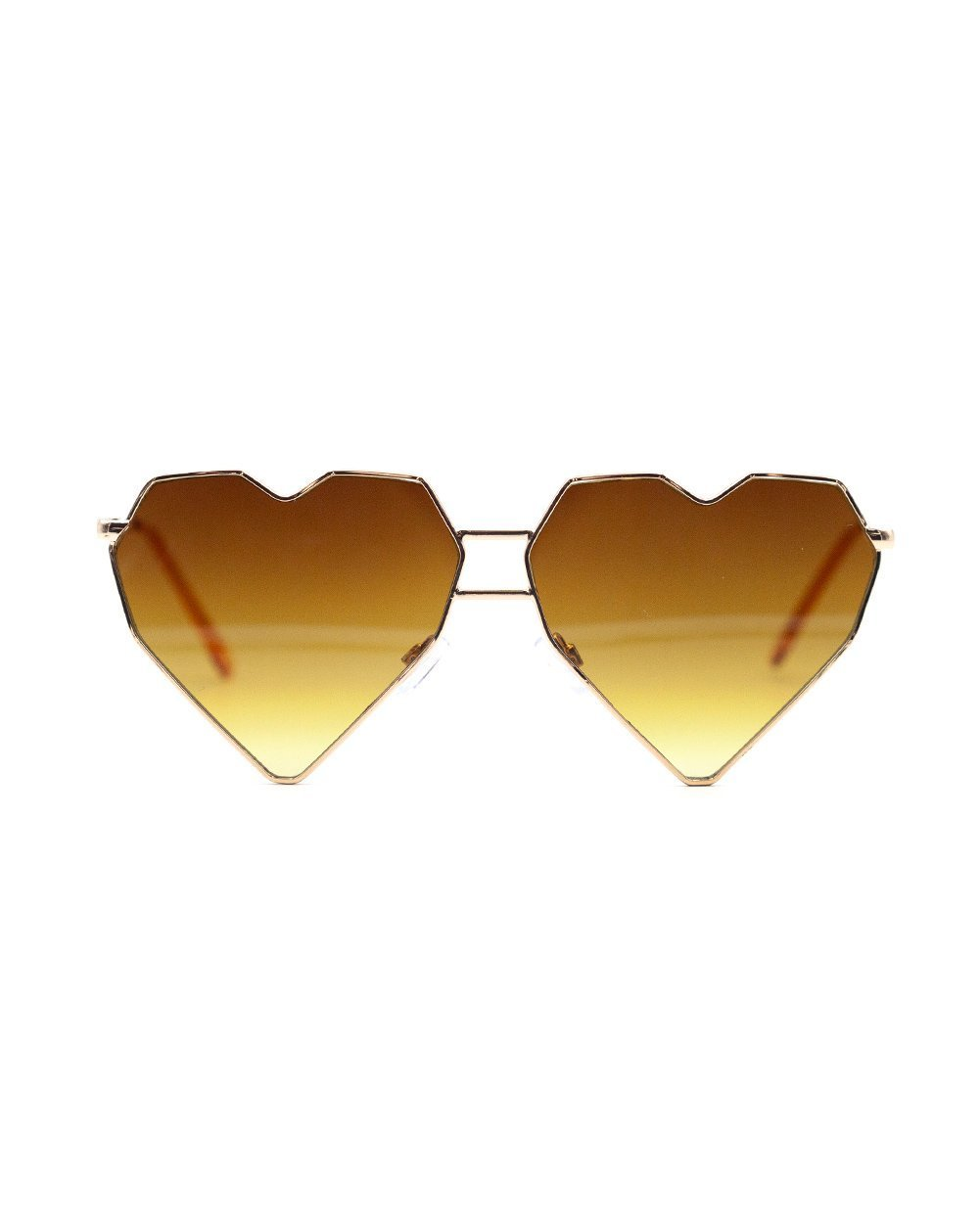 iHeartRaves Geometric Heart Frame Rigid Love Sunglasses (Gold)