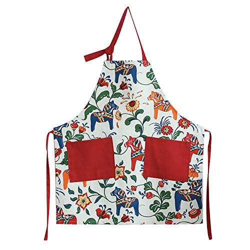 (Love Potato Cute Cartoon Dala Horse Design Adjustable Kitchen Cooking Apron for Women with 2 Pockets,)