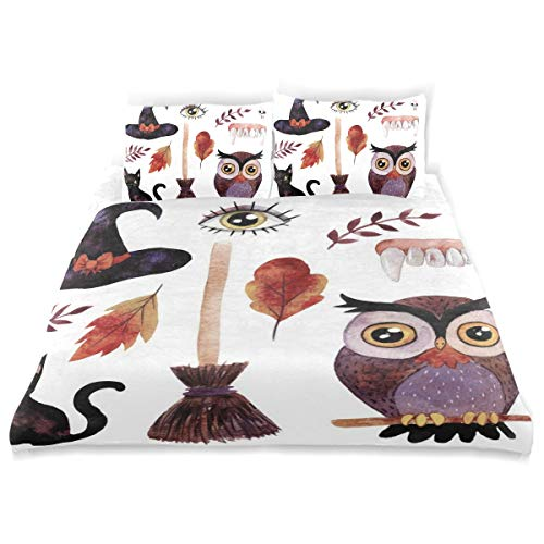 VANKINE Halloween Duvet Cover Set Halloween Watercolor s Collection Clip Art Design Bedding Decoration Queen/Full Size 3 PC Sets 1 Duvets Covers with 2 Pillowcase Microfiber Bedding Set Bedroom Dec -