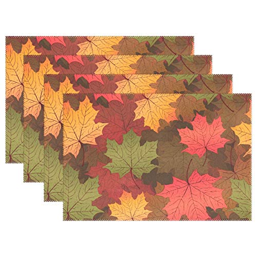 Promini Heat-Resistant Placemats, Colorful Maple Leaves Washable Polyester Table Mats Non Slip Washable Placemats for Kitchen Dining Room Set of 4 -