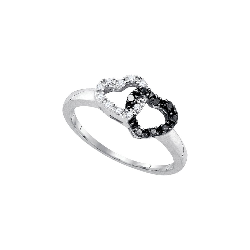 Sterling Silver Womens Round Black Colored Diamond Heart Love Ring 1/6 Cttw (I2-I3 clarity; Black color)