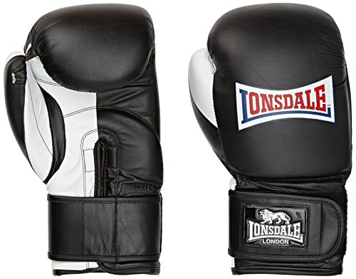 Lonsdale Pro Safe Spar Hook and Loop Training Gloves, Color- Black/White, Weight- 16oz (Lonsdale Training)