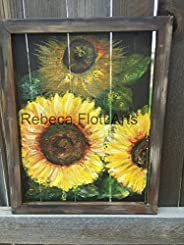 Happy sunflower, hand painted on screen, original art ,Yellow sunflower, Recycled wood, unique, gift ideas, ha
