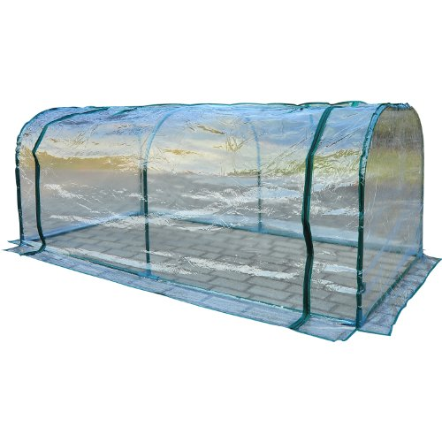 Outsunny Large Transparent PVC Tunnel Greenhouse Green Grow House Steel Frame 200x100x80cm