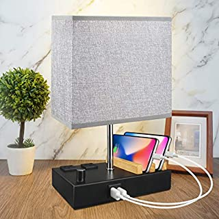 USB Table Lamp with 2 USB Ports,Fully-Dimming Bedside Nightstand Lamp with 2 Wooden Phone Stand & 2 AC Outlet,Grey Fabric Shade Modern Style Desk Bedroom Lamp for Bedroom ,with 2 Dimmable LED Bulbs