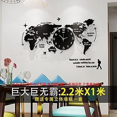 Y-Hui en el cuadro Reloj de cuarzo silenciosa Mapa del Mundo Relojes Salón Reloj de pared Reloj grande de 20 pulgadas o más, (Personalizado), enorme, ...