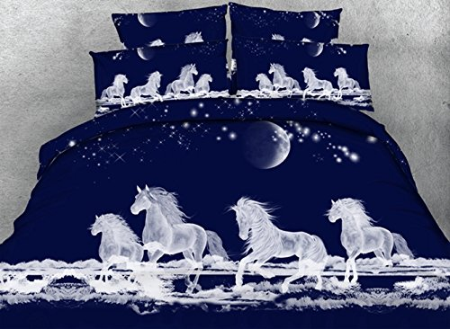 Ammybeddings Luxury Soft Duvet Covers Full Navy Blue with 1 Bed Sheet and 2 Pillow Shams,4 Piece Design 3D White Galloping Horse Bedding Sets,Unique Modern Cool Bedroom Sets