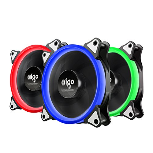 Case Fan, Aigo 3-Pack RGB LED 120mm High Airflow Quiet Edition Adjustable Color LED Fan CPU Coolers & Radiators for Computer Cases