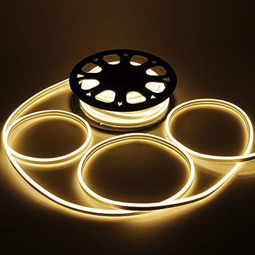 (Yescom 50ft Double Sided SMD2835 LED Flexible Neon Stripe Light Warm White Decor Lighting)