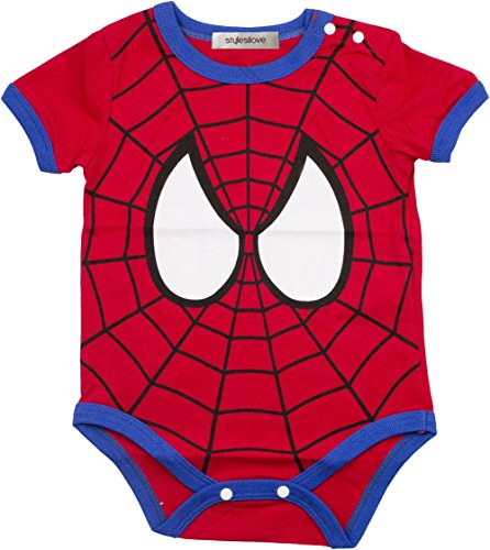 Stylesilove Super Hero Baby Boy Costume Jumpsuit (6-12 Months, Red Spiderman)