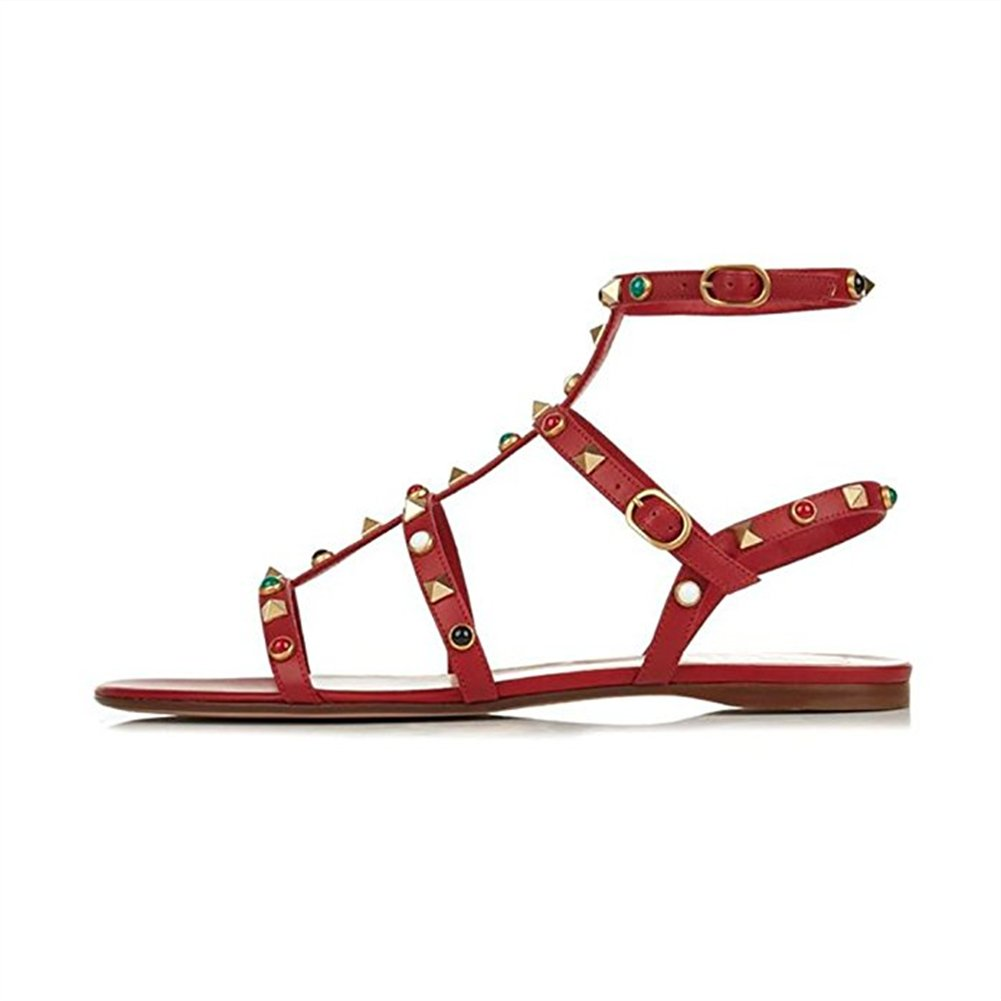 Chris-T Womens Mules Flats Rivets Slides Rockstud Strappy Studded Gladiator Sandals Backless Dress Slippers 5-14 US B07DH4NC7S 12 M US|Red/Gold Studs/Multicolor Stone
