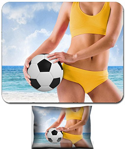 st and Small Mousepad Set, 2pc Wrist Support Composite image of fit girl in yellow bikini holding football against beach scene 29046735 (Composite Foam Football)