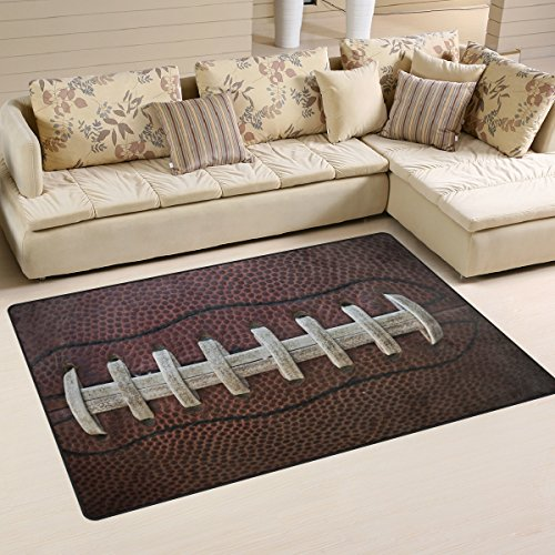 Naanle Sports Area Rug 3'x5', American Football Laces Polyester Area Rug Mat for Living Dining Dorm Room Bedroom Home Decorative - Football Sports Rug