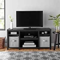 Mainstays Parsons Cubby TV Stand Holds Up to 50 TV - Black Oak