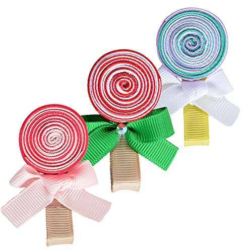 Tiny Flower Candy Boutique Bows Clips For Toddler Girls Fine Hair 12 Pairs LCLHB by LCLHB (Image #3)