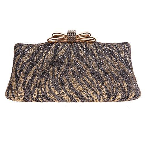 Fawziya Zebra Pattern Glitter Handbags For Womens Purses And Clutches-Gold