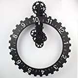 Senchefy? Wonderful atmosphere engraved brand Continental Wall gear clock Vintage mechanical creative wall clock creative home big tooth hanging , black