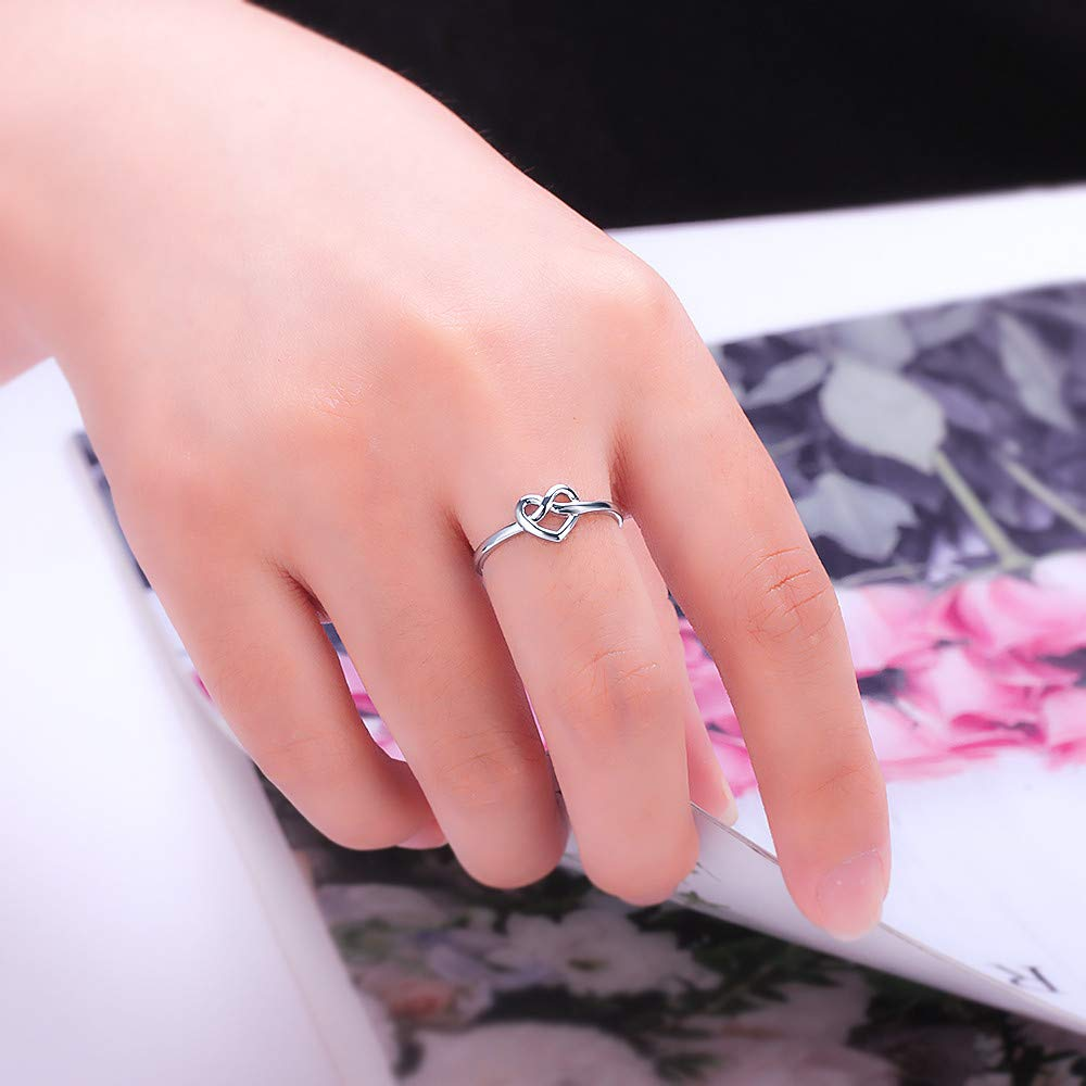 Simple Statement Rings for Fashion Jewelry in Size6//7//8//9//10 925 Sterling Silver Heart Knot Ring for Women