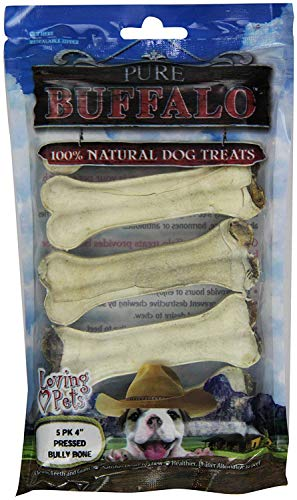 Loving Pets Pressed Bully Bones for Dogs, 4 Inch, Pure Buffalo, 5 Count, 12 Pack ()