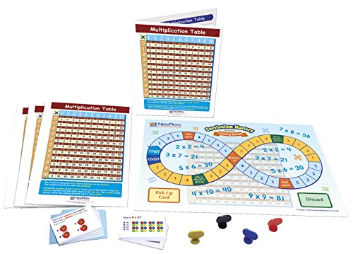NewPath Learning 23-6932 Multiplication Table Learning Center Game (Grades 3-5) - Game Board, 30 Illustrated Game Cards and Four 4-Panel, Laminated