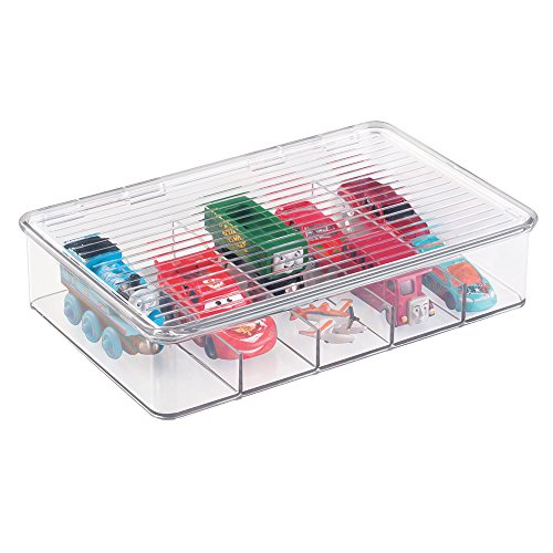 mDesign Kids Baby Cat Dog Small Plastic Stacking Toy Storage Organizers Boxes Cases Containers with lid , for Action Figures, Crayons, Legos Puzzles Wood Blocks - 10.75