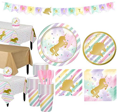 Party City Sparkling Unicorn Tableware Party Kit and Supplies for 24 Guests, Includes Table Cover, Centerpiece, Banner]()