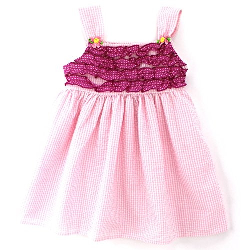 Ric Rac Dot - Forever Magic Girls Seersucker Tank Dress (3T, Baby Pink Dot)