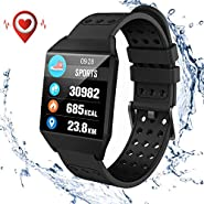 Smart Watch,Fitness Tracker Waterproof with Heart Rate Blood Pressure Monitor Activity Tracker Pedometer,Smartwatch Band with 8 Sports Mode,Step Counter,Calorie Counter,Watch for Men Women Kids