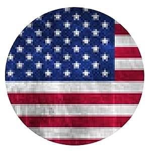 alfombrilla de ratón Bandera americana del Grunge en textura metálica - ronda - 20cm