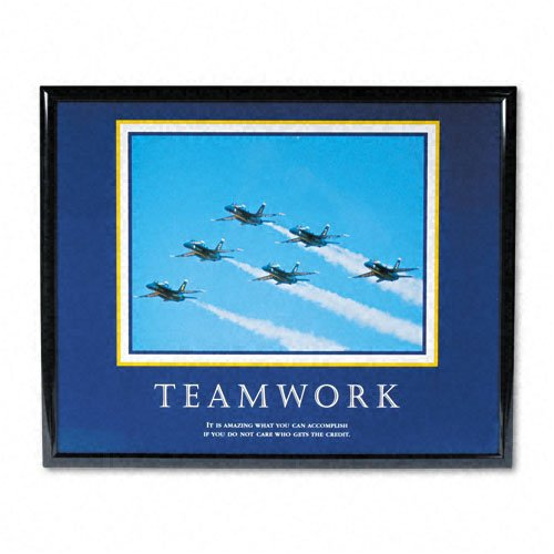 Advantus : Teamwork/Jets Framed Motivational Print, 30w x 24h -:- Sold as 2 Packs of - 1 - / - Total of 2 Each - Jets Framed Motivational Print