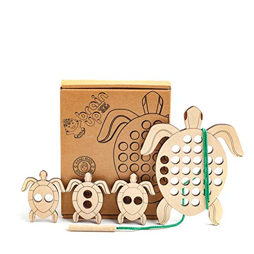 BrainUpToys Lacing Toy for Toddlers - Wooden Lace - Travel Toys for Airplane - Montessori Lacing Toy - Baby and Child Lace - Early Learning Educational Wood Block Puzzles