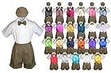 Baby Toddler Boy Formal Event Suit DARK TAUPE Shorts Shirt Hat Vest set Sm-4T (3T, Fuchsia)