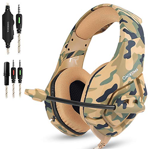 Gaming Headset Compatible PS4 New Xbox one PC Mac, ONIKUMA Over Ear 3.5mm Headphones with Mic Noise Isolating Deep Bass Surround for Game by AFUNTA -Camouflage