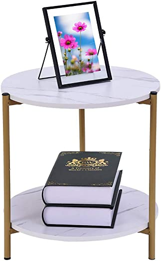 Haluoo Modern End Table Wood Metal Side Table Round Sofa Table with Organizer Storage Shelf Nightstand Coffee Table Snack Table for Living Room Bedroom Balcony Family and Office White