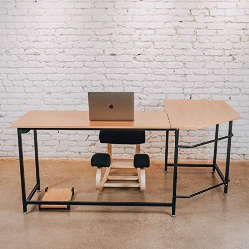 (Sleekform L-Shaped Corner Office Desk | Gaming Table or Home Workstation | Modern Furniture for Studying, Writing, and Working at Home, Office or Studio | Laptop Desk)