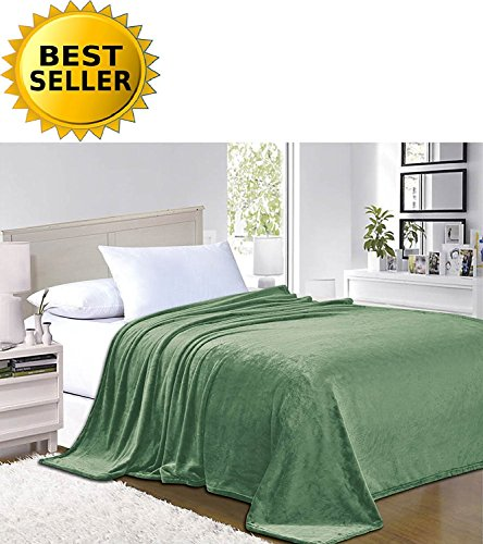 - Elegant Comfort #1 Fleece Blanket on Amazon - Super Silky Soft - Sale - All Season Super Plush Luxury Fleece Blanket Full/Queen Green