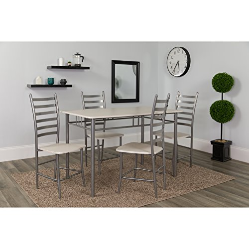 White Dinette Set - Flash Furniture Manhattan 5 Piece Whitewashed Beech Finish Dinette Set with Chairs