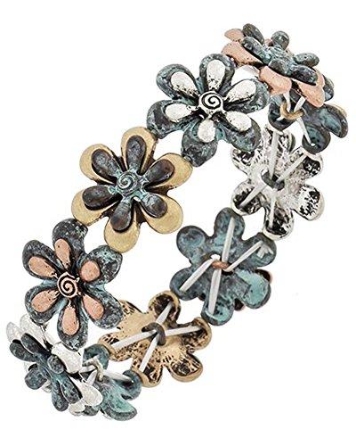 flower-floral-charms-burnished-tri-tone-stretch-bracelet