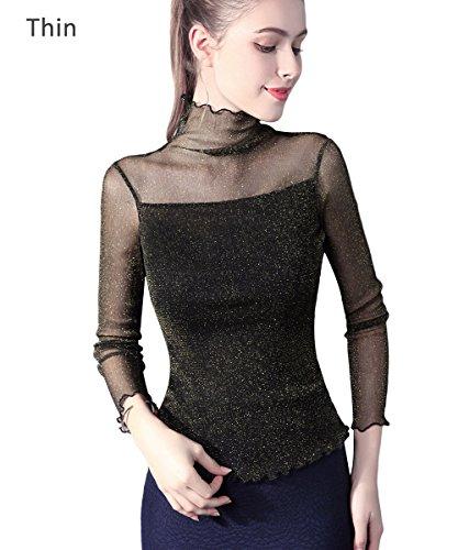 ADAMARIS Women Top High Neck Turtleneck Blouses For Women Junior Fashion 2131 On Sale Work Long Sleeve Black White