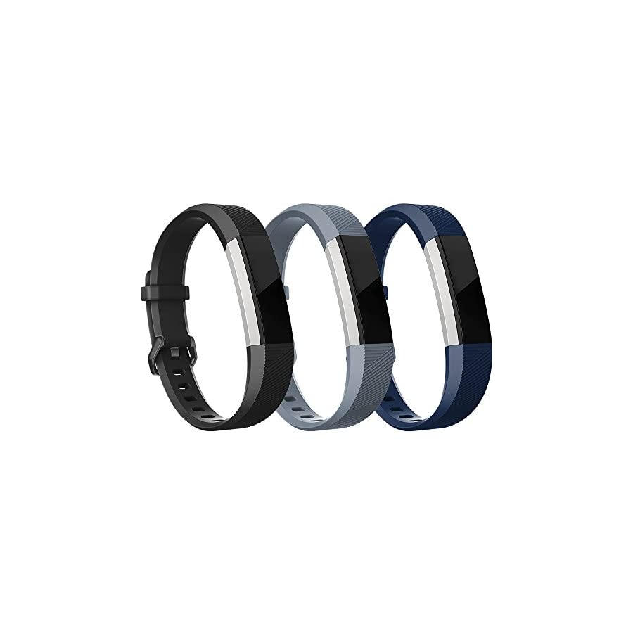 RedTaro Bands Compatible with FitbitAlta/Alta HR Pack of 3(Black,Grey,Navy Blue) Small,Adjustable Replacement Accessory Bands/Straps for Fitbit Alta HR/Alta for Women/Men(no Fitbit Fitness Tracker)