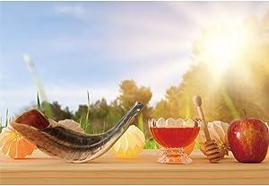 Rosh Hashanah Backdrop 10x6.5ft Happy New Year Photography Background Sunny Sunlight Shofar Sweet Honey Apple Wooden Table Nature Scenery Jewish Traditional Holiday Photo Prop Studio Decor