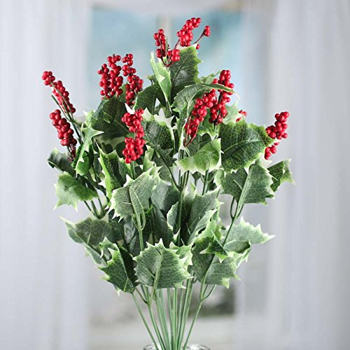 Factory Direct Craft 18.5 Inch Artificial Holly and Red Berry Embellishing Stems for Holiday and Home Decor
