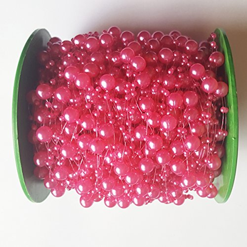 8 Mm Beaded Garland (ElE&GANT 200ft Hot Pink Pearl Garland Roll for Wedding or Party Decoration)