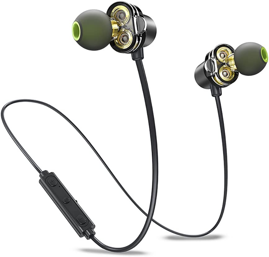 Dual Driver Bluetooth Earphones, Awei Wireless APTX In Ear Sports Earbuds Sweatproof Headphones for Running Exercise HD Sound, Bluetooth 4.2, IPX5, Magnetic, Noise Cancelling Mic Black