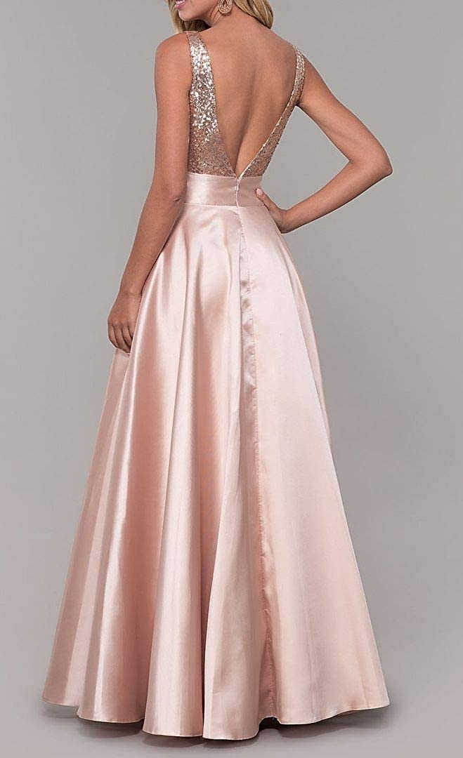 KaiDun Women's Sequined Prom Long A-Line V-Neck Satin Formal Evening Gowns Gold-lilac