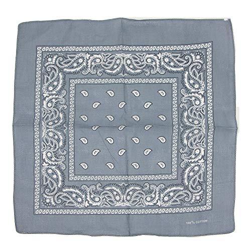 Charlotte 12 Pack Paisley Print Bandana 100% Cotton Multi purpose Square Handkerchief Headband Wristband (12 Pack/Grey) -