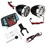 Suuonee Motorcycle MP3 System, Waterproof Motorcycle BT MP3 Player Audio Stereo Speaker System USB TF Card Carrier